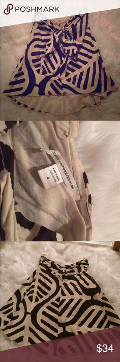 Diane von furstenberg brown cream zebra top w bow Super cute! Label coming off on inside Diane von Furstenberg Tops