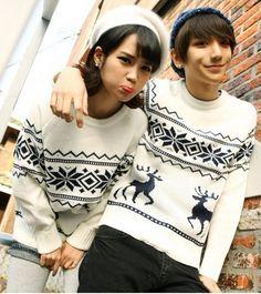 couples sweaters jumper lover jumper deer recreational sweater
