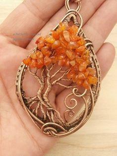 Alambre colgante árbol de la vida envuelta cornalina piedras