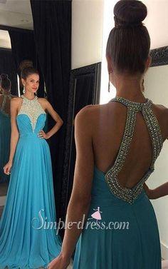 Prom Dress 2016,Blue Prom Dress,Long Prom Dress,A-Line Prom Dress,Chiffon Prom Dress