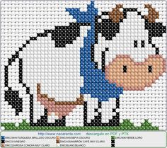 vaca cute EN PUNTO DE CRUZ, Cross stitch patterns