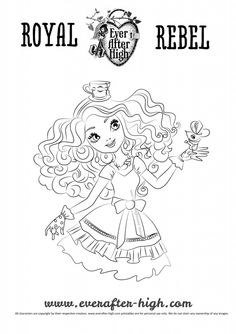 Madelin Hatter Black And White Outlined Drawing For Printing Coloring