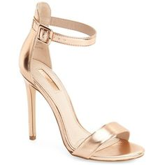 Women's Topshop 'Rita' Ankle Strap Sandal ($35) ❤ liked on Polyvore featuring shoes, sandals, heels, topshop, sapatos, rose gold, stilettos shoes, heels stilettos, high heel stilettos and stiletto sandals