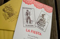 Mexican loteria themed invitations
