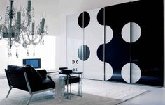Sleek Wardrobe Designs for Contemporary Interior: Marvelous Neutral Color Combination And White Floor Modern Black White Wardrobe Design Lux. Black And White Sofa, Black And White Living Room, Black And White Interior, White Interior Design, Contemporary Interior Design, Home Interior, White Rug, Modern Design, Purple Interior