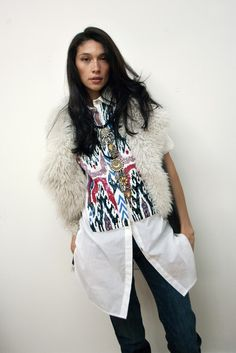 Beautiful ikat blouse from Figue. I wore it in a recent magazine shoot.