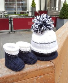 a6c3fb4507c Baby boy hat   Baby knit booties   Infant Pom Pom Hat   navy blue baby  shoes   newborn baby shoes   hand knit baby booties