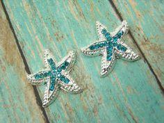 Rhinestone STARFISH 23mm 2pc Aqua Blue Teal Silver Tone Metal Buttons Embellishments Hair Bow Centers Beach Wedding Charms Beads DIY Jewelry