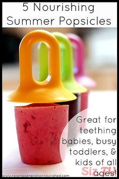 TODDLER 5 Nourishing Summertime Popsicles :: Great For Teething Babies, Busy Toddlers, & Kids of All Ages! by Raising Generation Nourished, via Flic. Baby Popsicles, Healthy Popsicles, Healthy Snacks, Healthy Recipes, Healthy Popsicle Recipes, Detox Recipes, For Elise, Teething Babies, Toddler Snacks