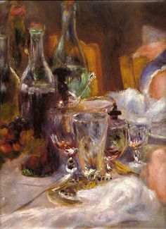 Renoir - I am so fascinated by the way Impressionists handle glass. Magical.