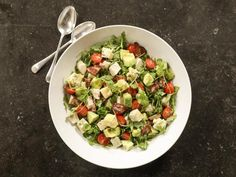 Ina~Roast Chicken Cobb Salad Recipe: Tomatoes, Avocado, Bacon & Blue Cheese, no reviews.
