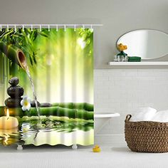 Fabric Shower Curtain Spa Decor by Comroll, Green Yellow Mildew Resistant Bathroom Zen Garden Theme Decor View for Bathroom Magical Japanese Design Relaxation Bamboos Candles-70W70L inch