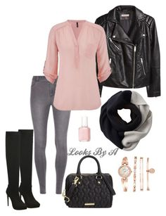 """""""Bright and cloudy"""" by looksbya on Polyvore featuring Betsey Johnson, Dorothy Perkins, H&M, maurices, SOREL, Essie and Anne Klein"""
