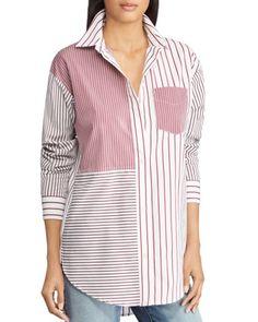 Lauren Ralph Lauren - Petite Striped Patchwork Cotton Button-Down Shirt Umgestaltete Shirts, Loose Shirts, Hijab Fashion, Fashion Outfits, Ralph Lauren, Batik, Shirt Refashion, Sewing Clothes, Blouse Designs