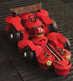 Check out this cool Racing Car Cupcake cake! A real winner!