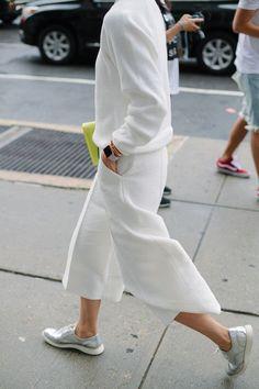 white with metallic kicks