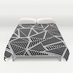 Ab lines Zoom Black and Silver Duvet Cover #abstract #lines #black #silver
