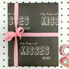 'Big Hugs And Kisses' Wrapping Paper Pack Five by Scissor Monkeys, the perfect gift for Explore more unique gifts in our curated marketplace. Chalkboard Designs, Matching Cards, Big Hugs, School Days, Kisses, Hand Lettering, Unique Gifts, Stationery, Wraps