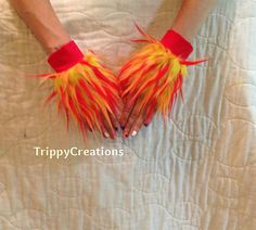 Fluffies red orange and yellow wrist cuffs great by TrippyDesigns