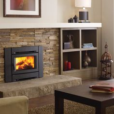 built-in book cases, fireplace