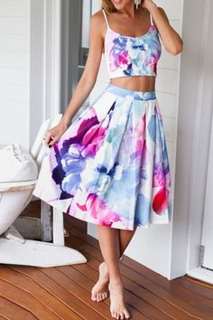Floral Print Crop Camis with Midi Skirt