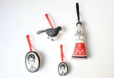 High brow ornaments! Put a slash of Frida on your tree!