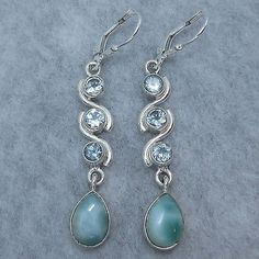 Larimar and Blue Topaz Earrings - Free Shipping