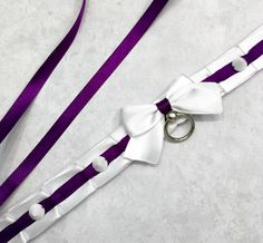 "PREMADE 12.5"" White and Purple Kittenplay Petplay BDSM Collar-Kitten Day Collar- SO CUTE"