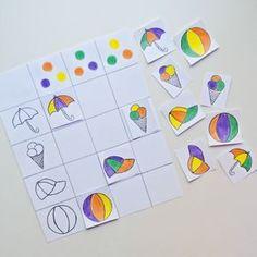 Очередная заметка для @mamy_vmeste Предлагаю сегодня поиграть в игру на развитие цветовосприятия и логического мышления Для этого нужно приготовить цветовые палитры. Выбираем несколько цветов. В данном случае использованы четыре цвета, чтобы усложнить игру можно добавить ещё. Рисуем различные картинки и раскрашиваем их в эти цвета, по три цвета на каждую. Малышу нужно будет подобрать картинку по цветовой гамме и поставить её в соответствующую клетку Интересных вам игр с вашими малыша...