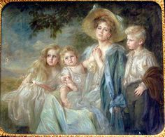 "adini-nikolaevna: ""Crown Princess Marie of Romania with three eldest children, Prince Carol, Princess Elisabeta, and Princess Marie ""Mignon. Romanian Royal Family, Greek Royal Family, Queen Victoria Prince Albert, Young Prince, Rare Pictures, Ferdinand, Pictures To Paint, Great Artists, Sketches"