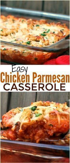 * Easy Chicken Parmesan Casserole is one of the easiest casserole recipes ever. Zero precooking because the chicken cooks inside the casserole! A perfect dish to prep ahead of time and stick in the oven an hour before dinner. You just layer and bake Chicken Parmesan Casserole, Potatoe Casserole Recipes, Chicken Parmesan Recipes, Easy Chicken Recipes, Casserole Ideas, Easy Recipes, Dinner Casserole Recipes, Healthy Casserole Recipes, Hamburger Recipes
