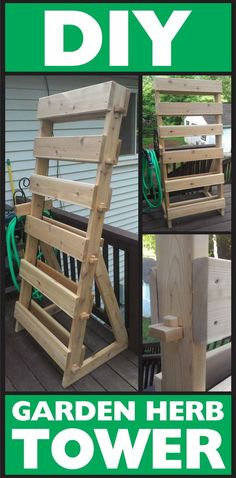 diy garden Vertical Garden herb tower  for 6 trays of herbs #woodworking #freeplansforwoodworking #gardengoodies http://removeandreplace.com/2013/05/23/how-to-make-a-vertical-6-tray-garden-herb-tower-with-cedar-wood/