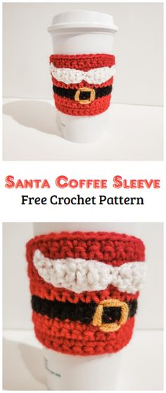 Crochet Santa Coffee Sleeve Pattern - Crochet Kingdom