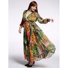 Plus Size Plunging Neck High Waist Floral Print Dress