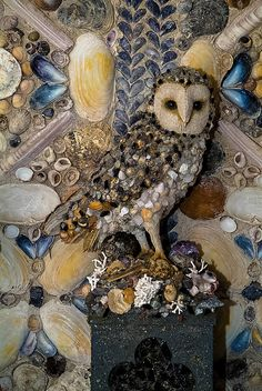 'Shell owl' at The Shell House Hermitage, Cilwendeg, Wales сова Mosaic Crafts, Mosaic Projects, Mosaic Art, Seashell Art, Seashell Crafts, Seashell Display, Shell House, Shell Beach, Owl Art