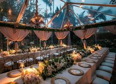 Additional seating was added outside under a beautiful tent with blush draping by @revelryeventdesign and long low lush florals by @theemptyvase(Venue: @bevhillshotel | Planner: @internationaleventco @margot_iec | Design Décor and Florist: @theemptyvase @emptyvaseyvonne | Photographer: @jessicaclaire | Videographer: @cloudlessweddings | Lighting: @images_lighting | Décor: @revelryeventdesign @revelrymatias | Band: @liventgroup | Linens: @latavolalinen | Ceremony Chairs: @chiavarichairrentals…