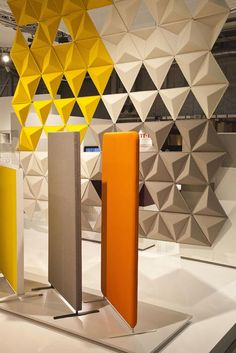 Acoustic Treatment Aircone by Abstracta - sound absorption hanging screens Acoustic Wall Panels, 3d Wall Panels, Office Screens, Office Walls, Acustic Panels, Acoustic Baffles, Room Divider Screen, Open Office, Scandinavian Furniture
