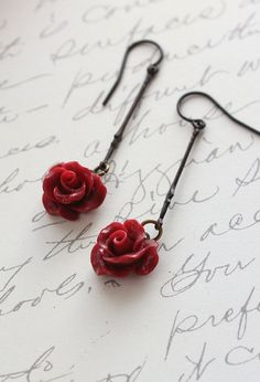 Red Rose Earrings Flower Drop Earrings Long