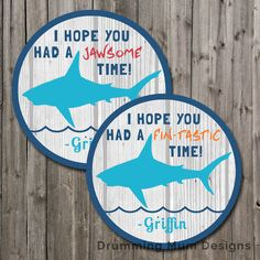 Shark Birthday Party Favor Tag Birthday Thank You Bag Goody Goodie Bag Loot Decoration Kids Surfer Ocean Bite rustic wood matching invite by DrummingMumDesigns on Etsy https://www.etsy.com/listing/472446451/shark-birthday-party-favor-tag-birthday