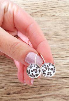 Snow leopard French lever backs 12mm bronze or silver, 10mm copper or silver, animal print drop earrings, leopard print earrings.