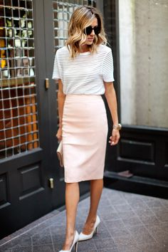 casual tee + pencil skirt