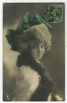 c 1912 Children Child GRETE REINWALD GIRL tinted photo postcard
