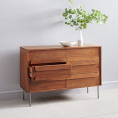 With a sculptural base inspired by Italian mid-century design, our Wright Dresser is crafted of wood certified to Forest Stewardship Council® (FSC) standards. It's a handsome storage piece that works anywhere, from the bedroom to the living r… Dresser Drawers, Mid Century Dresser, Walnut Furniture, Walnut Nightstand, 6 Drawer Dresser, Bedroom Storage, Expandable Dining Table, Oversized Furniture, Furniture