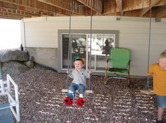 kids swing for under deck -- we are soooo doing this for Little Man! kids swing for under deck -- we Backyard Fort, Backyard For Kids, Backyard Projects, Outdoor Projects, Backyard Games, Outdoor Play Spaces, Outdoor Fun, Outdoor Games, Under Deck Landscaping