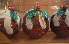 Christmas Xmas Pudding Tree Baubles, Decorations, Different