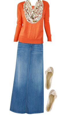 The light blue denim skirt is gorgeous with the bright orange shirt!