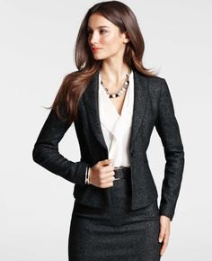 Ann Taylor - AT New Arrivals - Olivia Tweed Jacket  Work outfit / dress suit / skirt suit