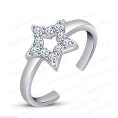White Diamond Star Adjustable Toe Ring For Women 925 Sterling Silver Round Cut  #eighty #Star #Engagement