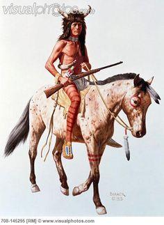 Native American With Rifle On Horseback  1983 Borack, Stanley(1927- American)