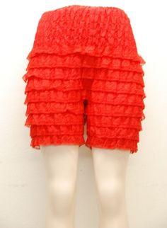 Vintage Ruffle Lace Red-Orange Bloomers sz : L (# 12360) #vintage #bloomers